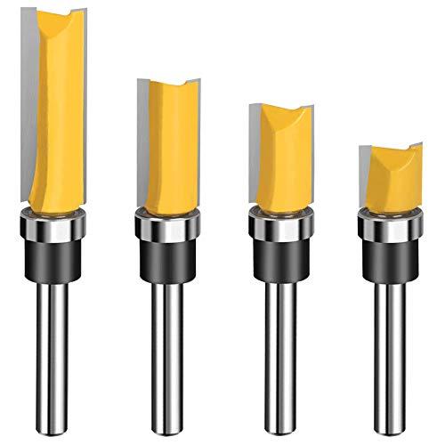 1/4 Shank Carbide Pattern Flush Trim Router Bit Top Bearing Router Bit Set Sharp & Smooth Perfect for Light Work - Cutting Length 1/2', 3/4', 1', 1-1/2'