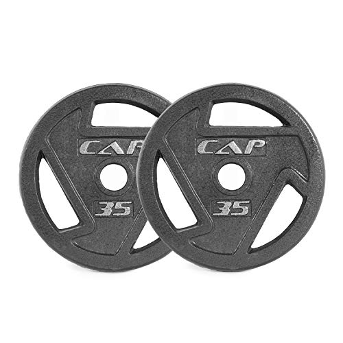 CAP Barbell Black 2-Inch Olympic Grip Plate, 35-Pounds, Pair