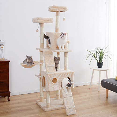 Cat Tree with 2 Condos and 2 Perches, Kitty Climber Tower Furniture