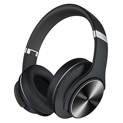 DOQAUS Bluetooth Headphones Over Ear, 52 Hours Playtime Wireless Headphones with 3 EQ Modes, HiFi Stereo Headphones with Microphone and Soft Protein Earpads for Cellphone/TV/PC/Home Office (Black)