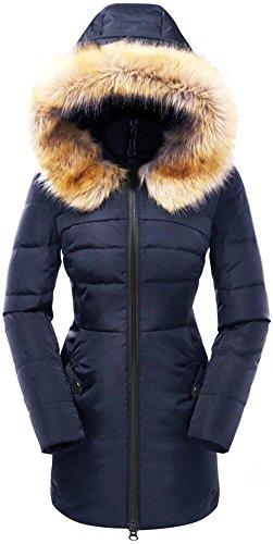Valuker Women's Down Coat With Fur Hood 90D Parka Puffer Jacket 57-Navy-S