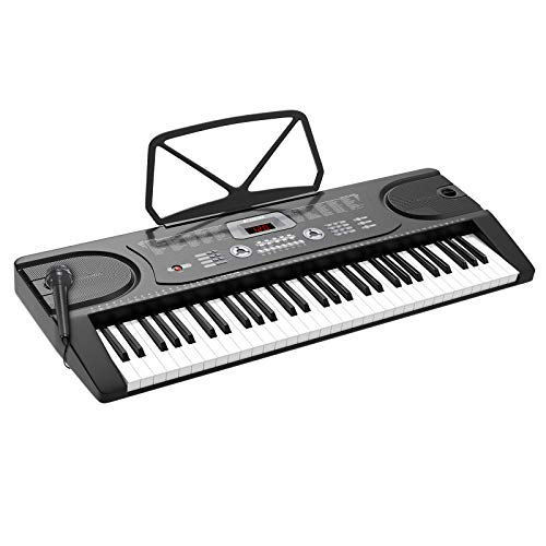 LAGRIMA 61 Key Portable Electric Keyboard Piano with Built In Speakers, LED Screen, Microphone, Dual Power Supply, Music Sheet Stand for Beginner (Kid & Adult) Black