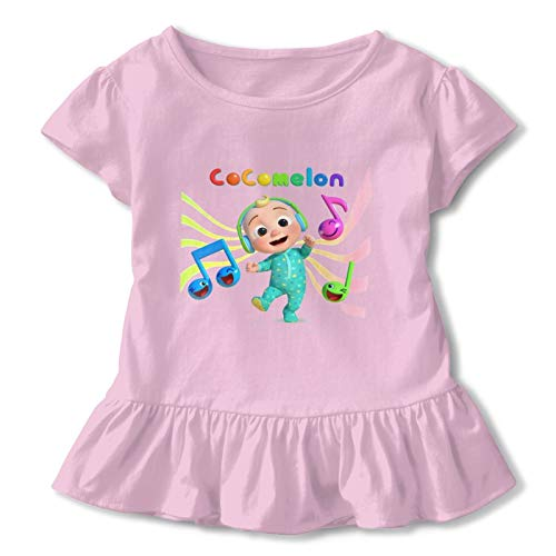 BEEPBOOP Coco-Melon Girls Short Sleeve Ruffle Double Ruffle 3D Printing Watermelon Stampa for 3t Toddlers