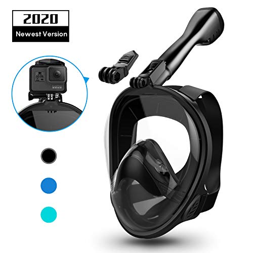Aegend Full Face Snorkel Mask with Upgraded Safety Breathing System, 180°Panoramic Larger View Snorkel Set Anti-Fog Anti-Leak, Detachable Camera Mount, Fit for Adult Youth Kids, Black M/S