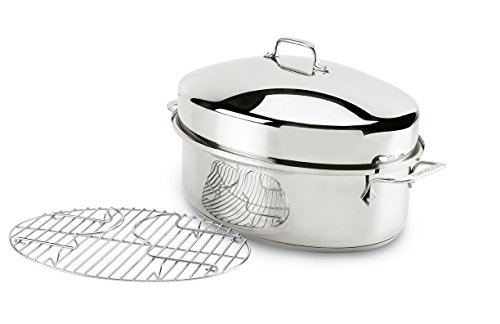 All-Clad E7879664 Stainless Steel Dishwasher Safe Oven Safe Covered Oval Roaster Cookware, 20-lbs, Silver