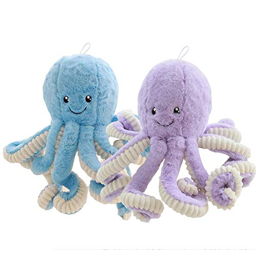 Hofun4U 2 Pack Octopus Stuffed Animal 16 Inch, Adorable Octopus Plush Toy, Soft Cute Plush Doll Pillow for Kids Adults Christmas Birthday Gifts Home Decor (Blue & Purple)