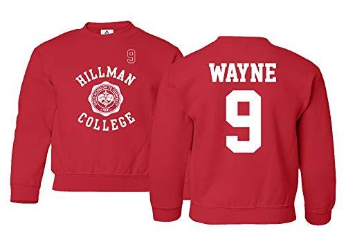 Sheki Apparel Hillman College Theater Wayne #9 Basketball Unisex Youth Sweatshirt Crewneck Sweater (Red, Youth - Small)
