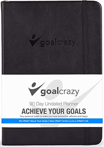 Goal Crazy Undated Planner - 90 Day Guided Journal, 2019 2020 Weekly Organization, Productivity Habit Tracker, Inspirational, Life Setting, Leather, Almond Pages (Black)