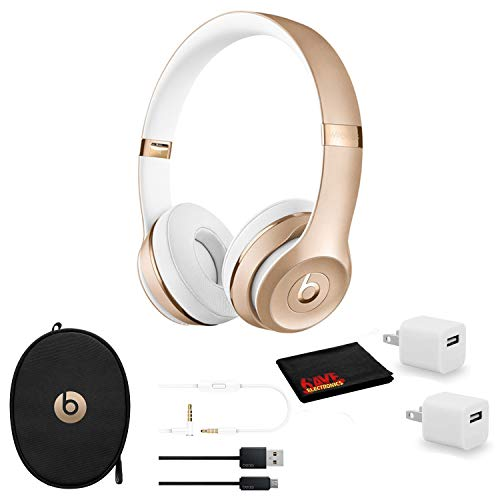 Beats by Dr. Dre Beats Solo3 Wireless On-Ear Bluetooth Headphones (Gold) - Kit with USB Adapter Cube