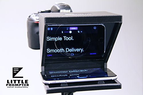Little Prompter, The Original Compact Personal Teleprompter for Video Production. No Studio Required. Perfect for DSLRs, Webcams, and Built-in Laptop Cameras. Use with iOS or Android.