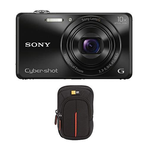 Sony Cyber-Shot WX220 Compact Digital Camera (Black), and Case Logic Camera Case Bundle