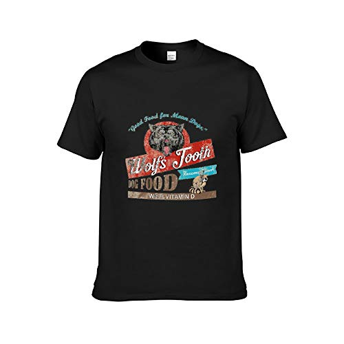 Wolf's Tooth Dog Food, Distressed T-Shirts O-Neck Athletic Cotton Shirt Summer Men's Short Sleeve Black