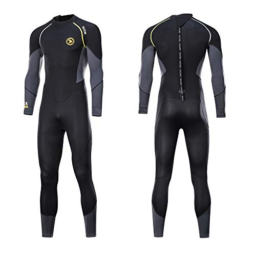 ZCCO Mens Full Suit Scuba Diving Thermal Wetsuit, 3mm Neoprene Wetsuits (XXXX-Large)