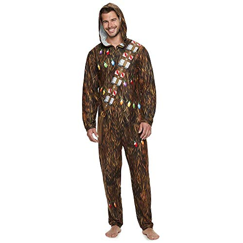 Star Wars Chewbacca with Lights Men's Union Suit, Large Brown