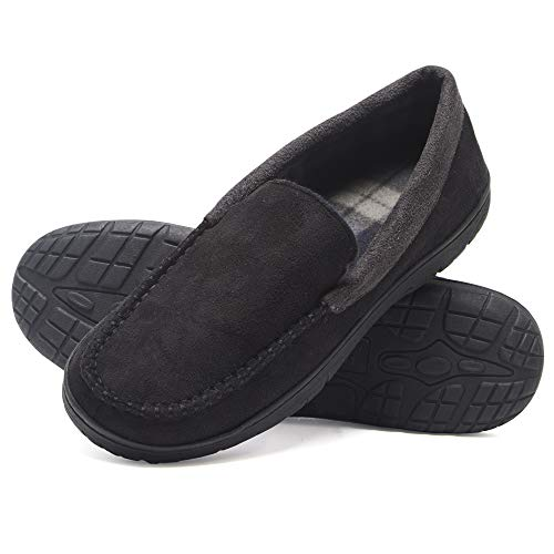 Hanes Men's Moccasin Slipper House Shoe with Indoor Outdoor Memory Foam Sole Fresh Iq Odor Protection, Black, X-Large