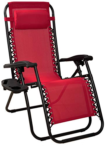 BalanceFrom Adjustable Zero Gravity Lounge Chair Recliners for Patio, Burgundy