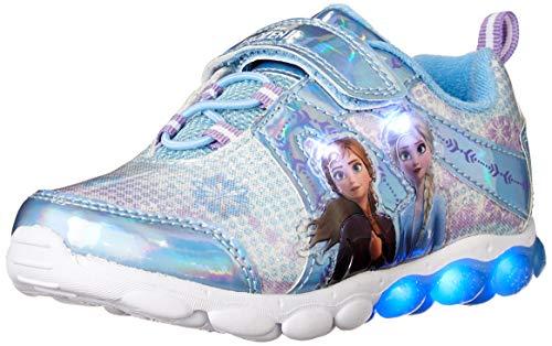 Spotted Zebra Girls' Frozen Sneaker, Silver/Blue, 12 Medium US Toddler