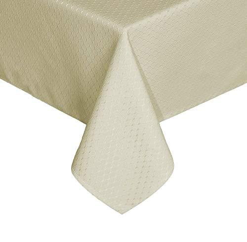 UFRIDAY Rectangle Tablecloth Fabric Water-Repellent, Spill Proof and Stain Resistant, Durable Table Cover for Home and Kitchen, Ivory, 60 inches x 120 inches