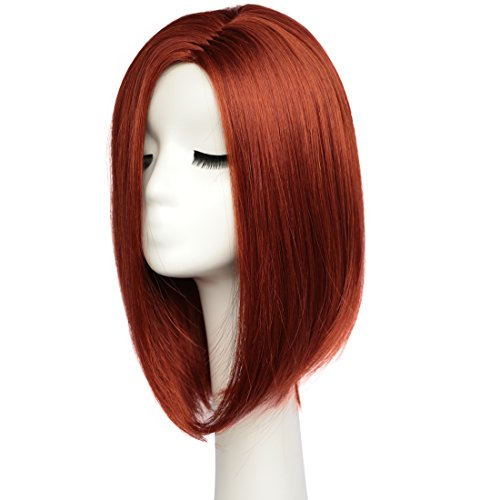 BESTUNG Red Wig Short Bob Wigs Straight Hair Wigs for Women Party Cosplay Accessories Full Wig Natural Looking with Wig Cap 13 Inches
