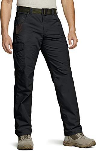CQR Men's Ripstop Work Pants, Water Repellent Tactical Pants, Outdoor Utility Operator EDC Straight/Cargo Pants, Work Cargo Black, 34W x 30L