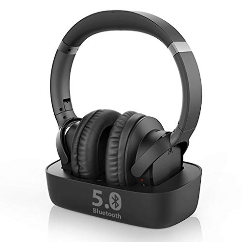 Avantree Ensemble Wireless Headphones for TV Watching w/Bluetooth 5.0 Transmitter & Charging Dock (Digital Optical AUX RCA), Over Ear Headset for Seniors, 35 Hrs Audio Playtime, Plug n Play, No Delay