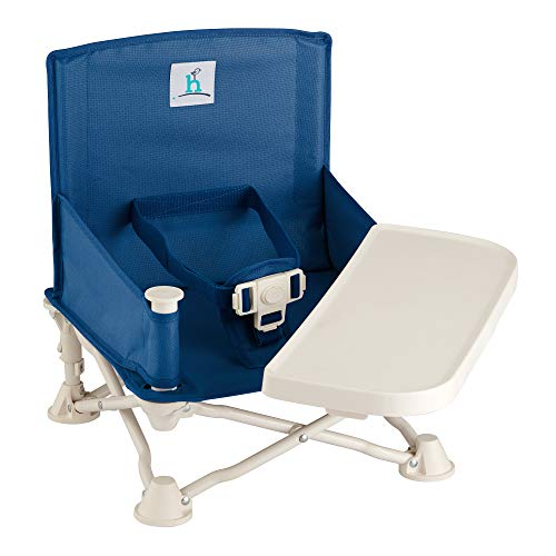 hiccapop Omniboost Travel Booster Seat with Tray for Baby | Folding Portable High Chair for Eating, Camping, Beach, Lawn, Grandma's | Tip-free Design Straps to Kitchen Chairs - Go-anywhere High Chair.