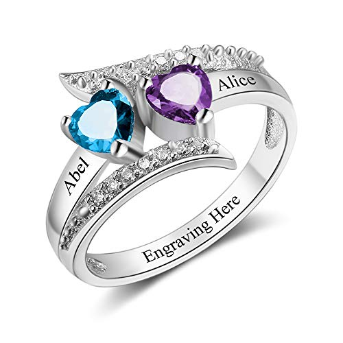 JewelOra Personalized 2 Simulated Birthstones Engagement Promise Ring for Her Couple Friendship Rings for Women (Silver, 7)