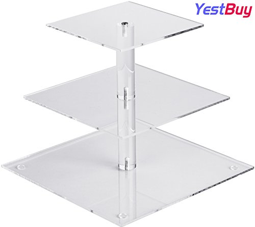 YestBuy 3 Tier Cupcake Stand, Cake Stand, Acrylic Cupcake Tower Stand, Premium Cupcake Holder For 28 Cupcakes, Display for Pastry Wedding Birthday Party (4' between 2 layers)