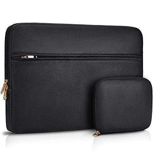 Laptop Sleeve Case 13-14 inch Waterproof Computer Tablet Carrying Sleeve Leather Laptop Bag Compatible with 13 inch MacBook Pro/Air Notebook,Black