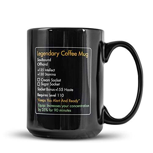 MMO Mug - Legendary Coffee Mug Level 110 - Large Ceramic Black Coffee Mug 15oz - Gaming, Gamer Cup