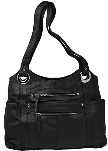 Garrison Grip Black Crossbody or Shoulder Carry Leather Locking Concealment Purse - CCW