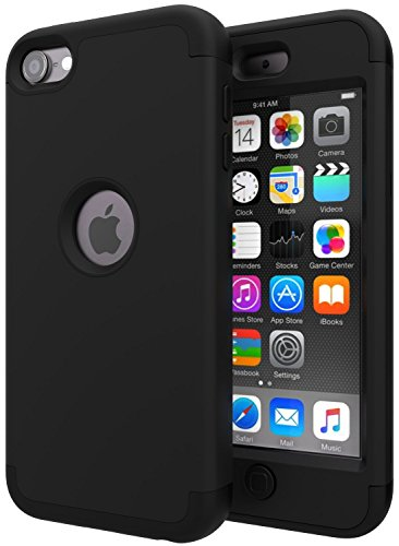 iPod Touch 7 Case,iPod Touch 6 Case,SLMY(TM) Heavy Duty High Impact Armor Case Cover Protective Case for Apple iPod Touch 5/6/7th Generation Black/Black