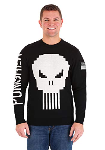 Marvel The Punisher Skull Mens Sweater X-Large Black,White