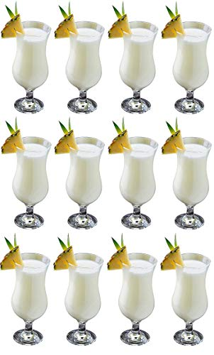 Epure Venezia Collection 12 Piece Hurricane Glass Set - Perfect for Drinking Pina Coladas, Cocktails, Full-Bodied Beer, Juice, and Water (Pina Colada (15.5 oz))