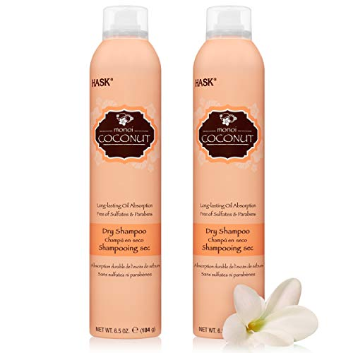 HASK Dry Shampoo Kits for all hair types, aluminum free, no sulfates, parabens, phthalates, gluten or artificial colors, Nourishing Monoi Coconut - Set of 2 Large 6.5oz Cans