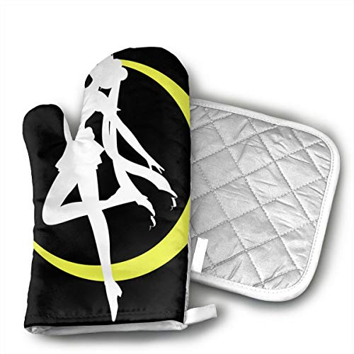 ~ Sailor Moon Crystal Venus Silhouette Heat Resistant Kitchen Gloves -Oven Mitts and Pot Holders with Insulation Soft Cotton Lining Non-Slip Cooking Gloves for BBQ Baking Grilling