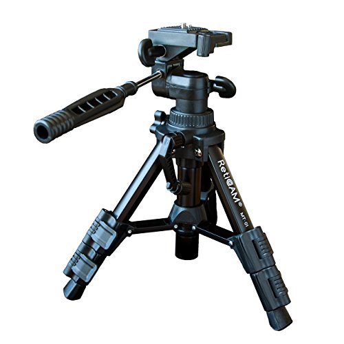 RetiCAM Tabletop Tripod with 3-Way Pan/Tilt Head, Quick Release Plate and Carrying Bag for Phones, Cameras and Spotting Scopes - MT01 Mini Tripod, Aluminum, Black