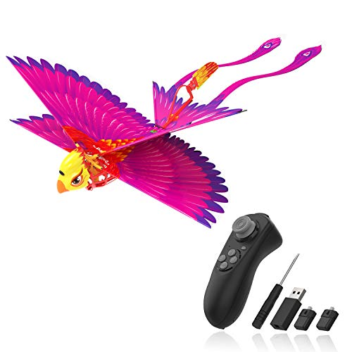 Go Go Bird Flying Toy, Remote Control Flying Toys, Mini RC Flying Bird, Drone-Tech Toy, Smart Bionic Flapping Wings Flying Bird Perfect for Kids, Boys and Girls, Hot Pink