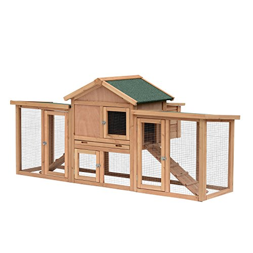 PawHut 80' Wooden Chicken Coop Backyard Hen Cage House Poultry w/Nesting Box Run