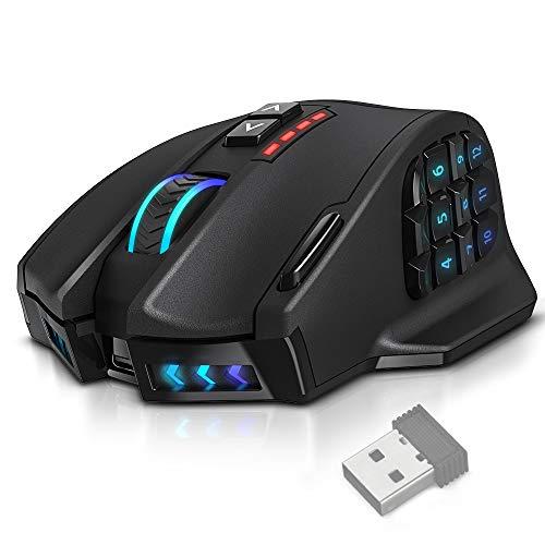 UtechSmart Venus Pro RGB Wireless MMO Gaming Mouse, 16,000 DPI Optical Sensor, 2.4 GHz Transmission Technology, Ergonomic Design, 16M Chroma RGB Lighting, 16 programmable Buttons, Up to 70 Hours