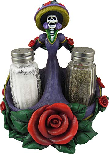 World of Wonders - Catrina Series - The Spice of Life - Day of the Dead Dia De Los Muertos Halloween Decorations Sugar Skull Salt & Pepper Shaker Caddy 3-Piece Set and Candle Holder, 6.5-inch