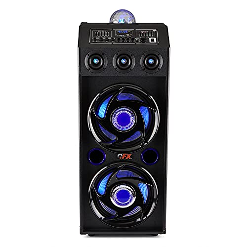 QFX SBX-412207BT Bluetooth Speaker with Built-in Amplifier, Blue or red