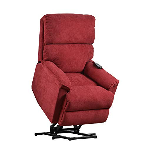 Merax Electric Recliner Chair Lazy Boy Sofa for Elderly, Power Lift Massage and Heat Function for Office or Living Room, Red