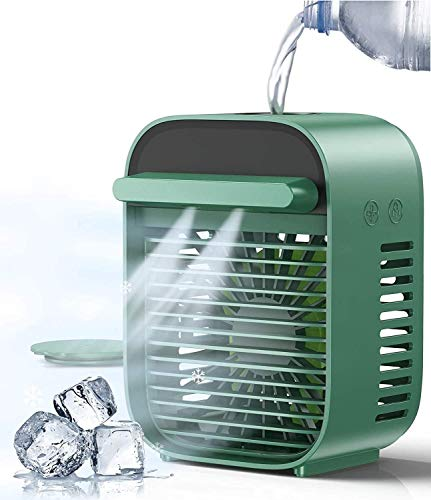 Humixx Portable Air Conditioner Fan, [4 in 1] Personal Space Mini Cooling Fan Evaporative Humidifier Mute Desk Table Air Cooler with USB Recharged and 3 Fan Speeds for Bedroom Home Car Office