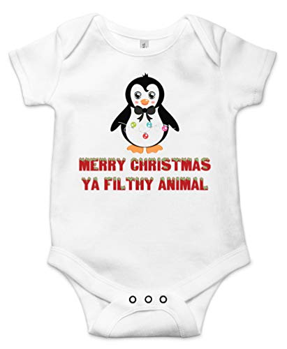 Merry Christmas Ya Filthy Animal Cute Holiday Baby Bodysuit Gift Funny Infant Onesie White