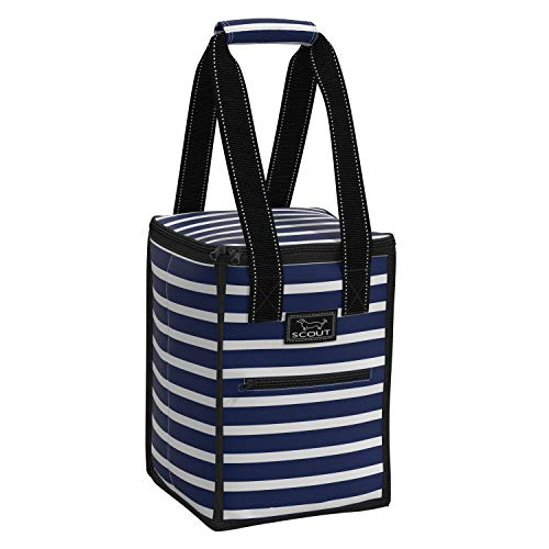 SCOUT Pleasure Chest Soft Cooler, 4 Bottle Wine Cooler Bag, Insulated, Collapsible, Lightweight, and Portable Beach Cooler Tote Bag in Nantucket Navy Pattern (Multiple Patterns Available)