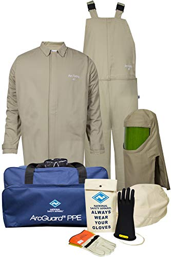 National Safety Apparel KIT4SC40EC2X10 ArcGuard Contractor CAT 4 Arc Flash Kit with FR Short Coat and Bib Overall, 40 Calorie, 2X-Large/Glove Size 10, Khaki