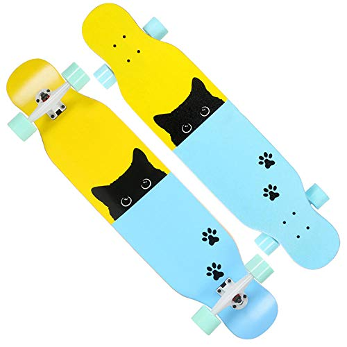 43 inches Maple Cruiser Longboard Skateboards Drop Through Deck Freestyle Camber Concave Cruising Dancing Longboard for Teens, Beginners,Girls,Boys-#1
