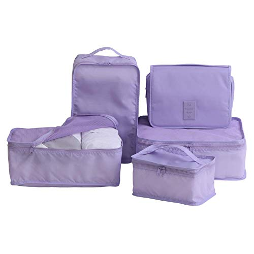 Travel Packing Cubes 7 Set, JJ POWER Luggage Organizers with toiletry kit shoe bag (5set-lavender)