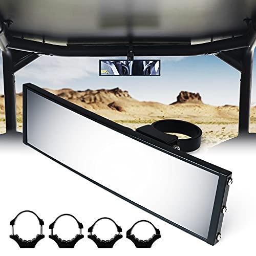 Xprite 9' UTV RZR Rear View Center Mirror Aluminum Rearview Mirrors fits 1.65' - 2 Inch Rollbars w/ Adjustable Mount for Polaris SXS Pioneer Talon Can-Am Maverick X3 Kawasaki Arctic Cat Wildcat Yamaha